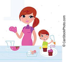 Glückliche Mutter mit ihrem Sohn, der in der Küche kocht