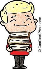 Glücklicher Comic-Mann mit vielen Büchern.