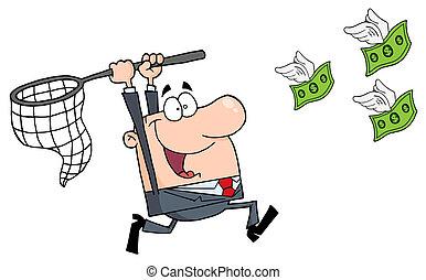 Glücklicher Geschäftsmann, der Geld jagt