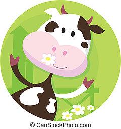 Glücklicher Kuhcharakter - Bauerntier
