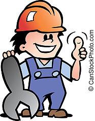 Glücklicher Mechaniker oder Handwerker.
