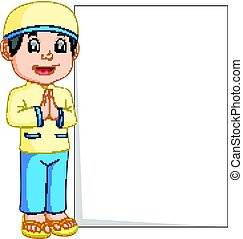 Glücklicher Moslem-Cartoon mit leerem Zeichen.
