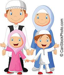 Glücklicher Moslem-Familien-Cartoon.