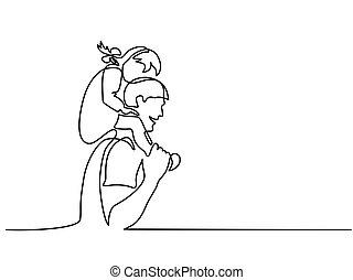 Glücklicher Vater mit kleiner Tochter auf den Schultern