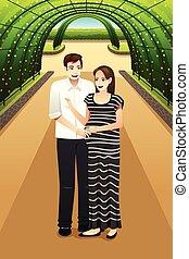 Glückliches Paar im Park.
