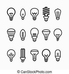 Glühbirnensymbole.