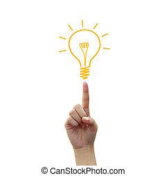 Glühbirnes Licht auf Fingerspitzen