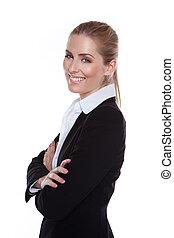 Glamouröse, positive, lächelnde Geschäftsfrau