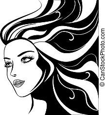 Glamour-Mädchen mit schwarzen Haaren