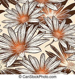Glamour nahtlose Tapete mit abstrakten Blumen, handdrachen. Vektor Illustration. Eps10