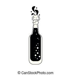 glas, bier, schwarz, weißes, flasche