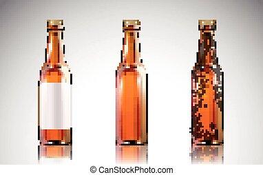 glas flasche, mockup, bier