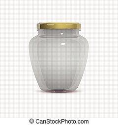 glas, marmeladenglas, durchsichtig, leerer