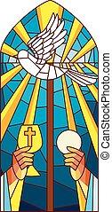 glas, masse, befleckt, heilig