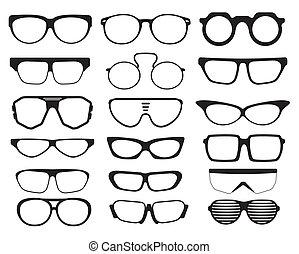 Glas und Sonnenbrille.