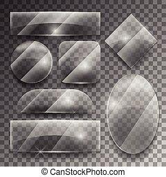 glas, vektor, satz, durchsichtig, platten