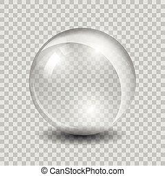 glas, weißes, vektor, durchsichtig, kugelförmig