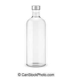 Glas Wodka Flasche mit Silberkappe.