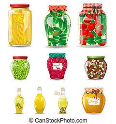 Glaskäfer mit Gemüse, Pilzen, Obst und Honig für Ihr Design.