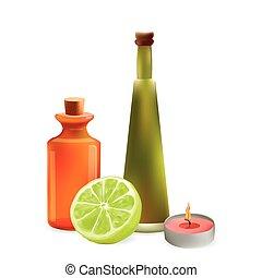 Glaskosmetische Flaschen und Kerzen mit Kalkscheibe. Vector isolierte Illustration. Vorlagenelemente für Kosmetik-Shop, Spa-Salon, Beauty-Produkte, medizinische Behandlung.