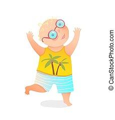 glasses., tragen, springende , hände, junge betrieb, auf, kleinkind, lustiges