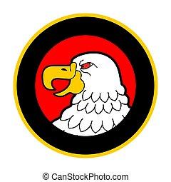 Glatze Adlerkopf im Kreis Emblem. Vogelsymbol. Vector Illustration