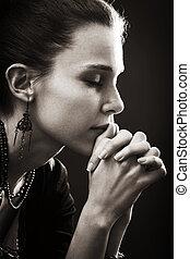 glaube, frau, -, gebet, religion