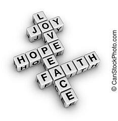glaube, frieden, liebe, freude, hoffnung