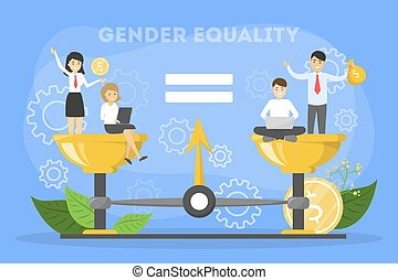Gleichstellungskonzept. Weiblicher und männlicher Charakter