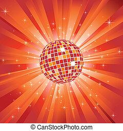 Glitzernde Discokugel auf orangefarbenem Licht und Glitzersterne