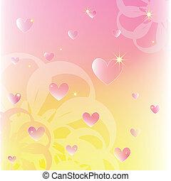 Glitzernde Herzen auf weichen Farbblumen Hintergrund