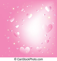 Glitzernde Herzen Stars auf romantischer rosa Farbe