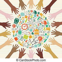 global, bildung, menschliche , hands., heiligenbilder