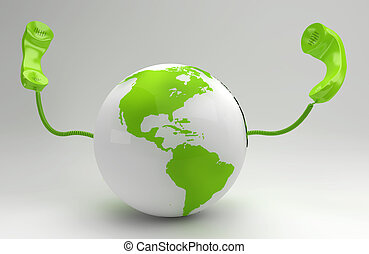 global, planet, begriff, grün, telekommunikation