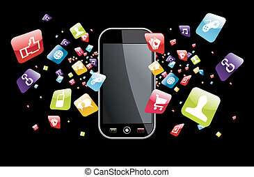 global, smartphone, spritzen, apps, heiligenbilder