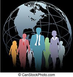 Globale Geschäftsleute, Erde auf Schwarz