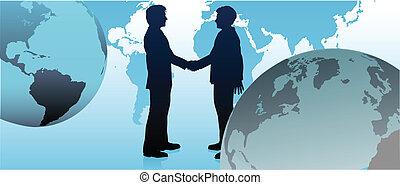 Globale Geschäftsleute verbinden die Welt