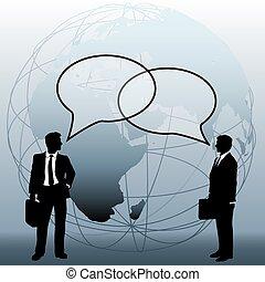 Globale Geschäftsleute verbinden Gesprächsblasen