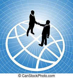 Globale Geschäftsleute verständigen sich mit einem Handschlag auf dem Globus