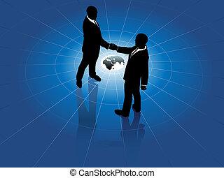Globale Geschäftsmänner handeln mit dem Weltabkommen