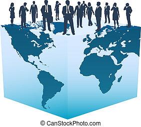 Globale Geschäftsressourcen, Menschen auf dem Weltwürfel