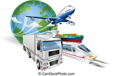 Globale Logistik Konzept Flugzeug Truck Zugschiff