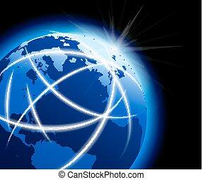 Globale Welt mit Kommunikation rund um den Globus.