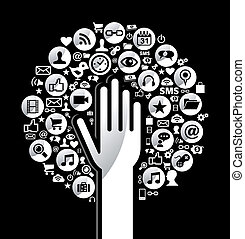 Globaler Sozialmedien-Handbaum