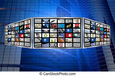Globales 3-D-Screen-TV Multimedia-Konzept