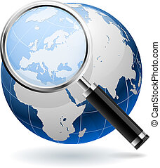 Globales Suchkonzept isoliert auf weißem Hintergrund. EPS10 Akte.
