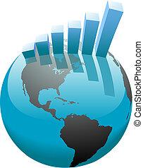 Globales unternehmerisches Wachstum ist weltweit ein Graph