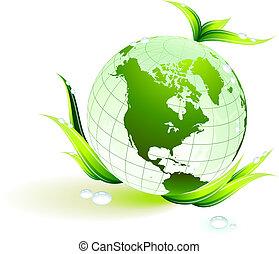Globe über grünen Umweltschutz