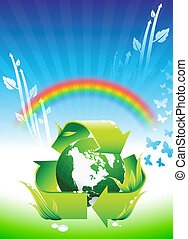 Globe auf Regenbogen Umweltschutz Hintergrund.