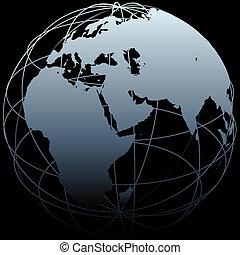 Globe Eastern Earth longitude Landkarte auf Schwarz